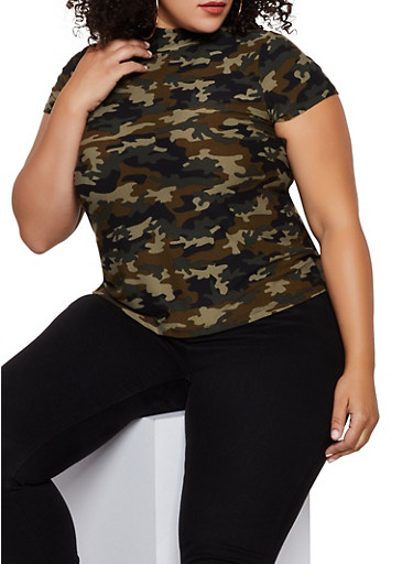 Plus Size Mock Neck Camo Top,OLIVE,large