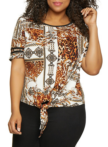 Plus Size Baroque Print Tie Front Tee,IVORY,large