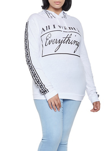 Plus Size Everything Graphic Hooded Top,WHITE,large