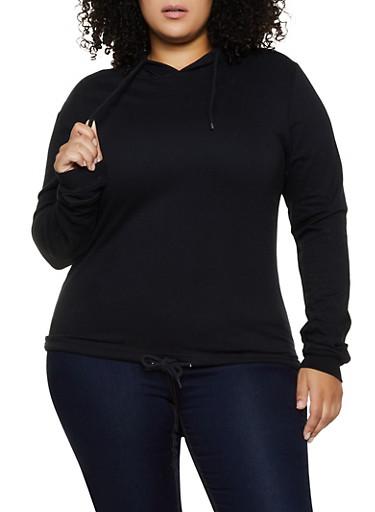 Plus Size Fleece Lined Pullover Sweatshirt,BLACK,large