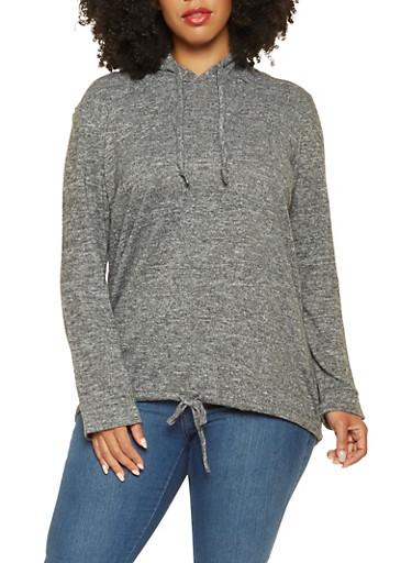 Plus Size Hooded Knit Sweatshirt,CHARCOAL,large