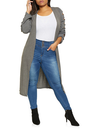 Plus Size Caged Sleeve Duster,CHARCOAL,large