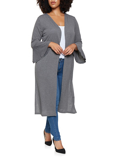 Plus Size Bell Sleeve Duster,CHARCOAL,large