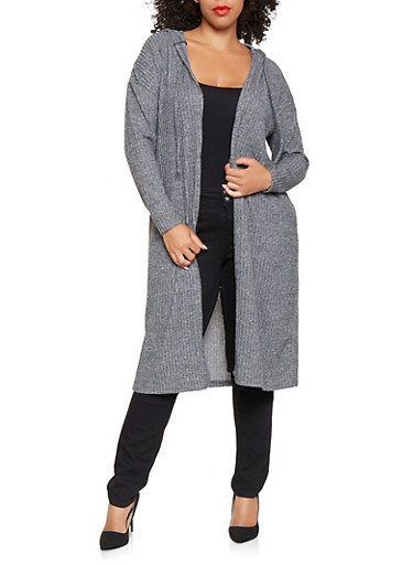 Plus Size Hooded Knit Duster,CHARCOAL,large