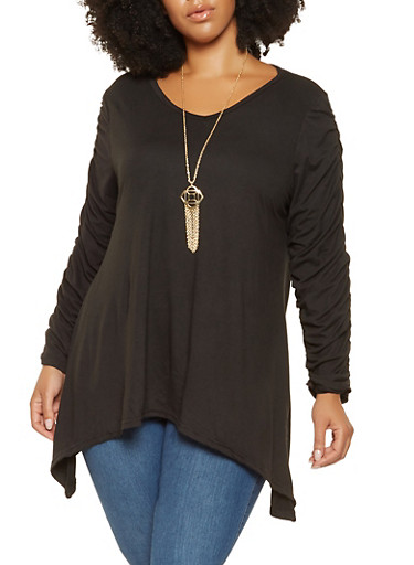 Plus Size Ruched Sleeve Sharkbite Top with Necklace,BLACK,large