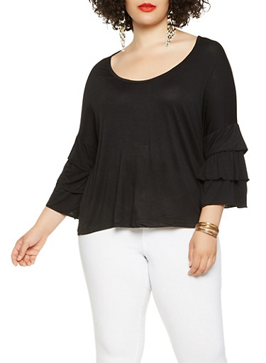 Plus Size Tiered Sleeve Top,BLACK,large