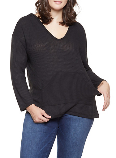Plus Size Waffle Knit Hooded Sweater,BLACK,large