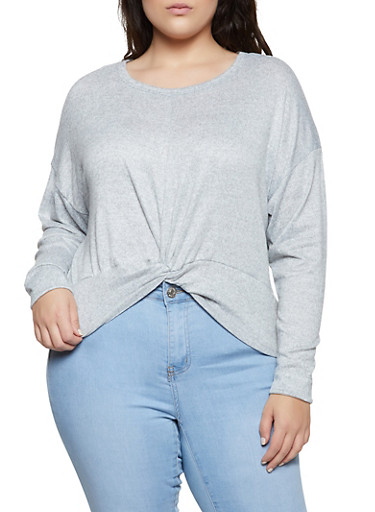 Plus Size Twist Front Sweater,HEATHER,large