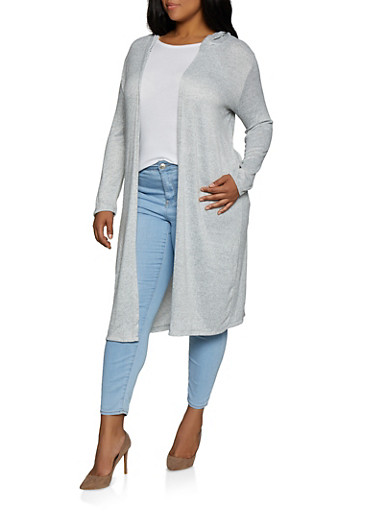 Plus Size Knit Hooded Duster,HEATHER,large