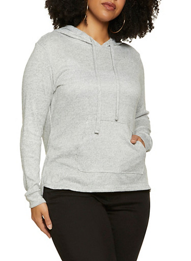 Plus Size Marled Hooded Top,HEATHER,large