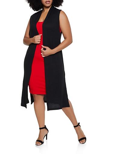 Plus Size Sleeveless Waffle Knit Duster,BLACK,large
