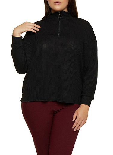 Plus Size Waffle Knit Zip Neck Top,BLACK,large