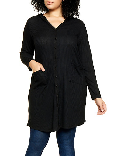 Plus Size Thermal Duster,BLACK,large