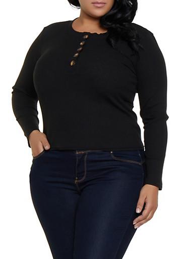 Plus Size Half Button Rib Knit Top,BLACK,large
