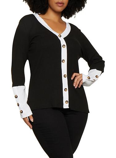 Plus Size Contrast Button Trim Top,BLACK/WHITE,large