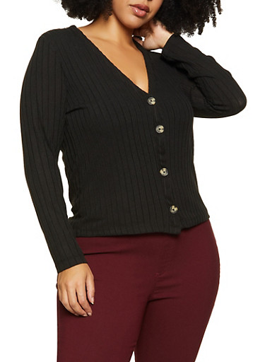 Plus Size Ribbed Button Cardigan,BLACK,large