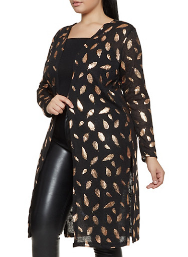 Plus Size Feather Print Duster,BLACK,large