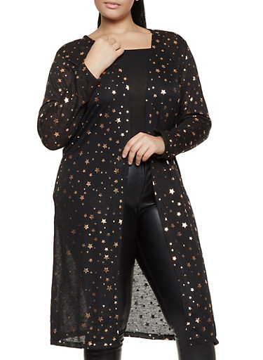Plus Size Foiled Star Print Duster,BLACK,large