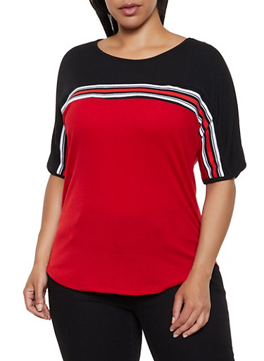 Plus Size Ribbed Color Block Top,BLACK,large