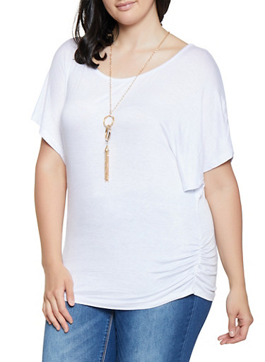 Plus Size Ruched Top with Necklace,WHITE,large