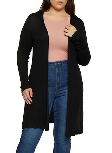 Plus Size Ribbed Knit Side Slit Duster,BLACK,large