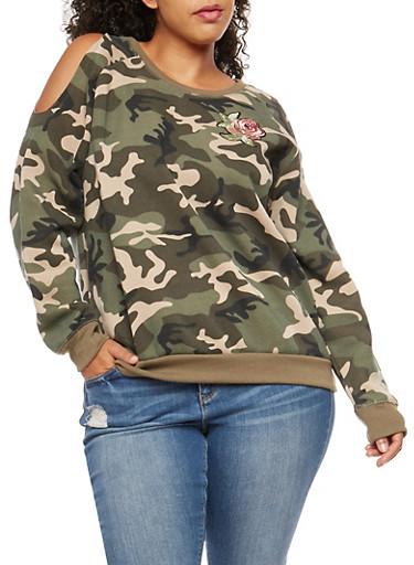 Plus Size Camouflage Cold Shoulder Sweatshirt,GREEN,large