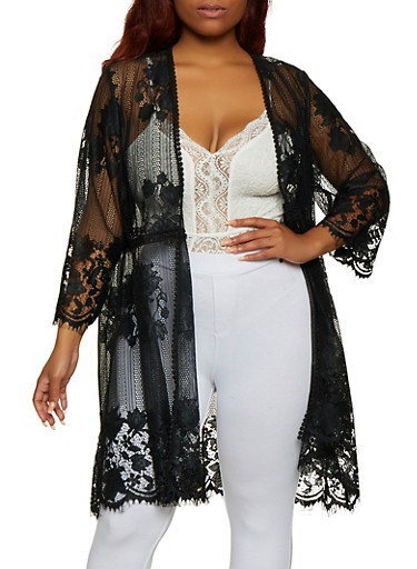 Plus Size Floral Embroidered Lace Duster,BLACK,large