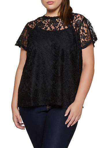 Plus Size Lace Short Sleeve Top,BLACK,large