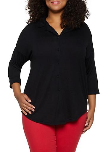 Plus Size Lace Back Yoke Shirt,BLACK,large