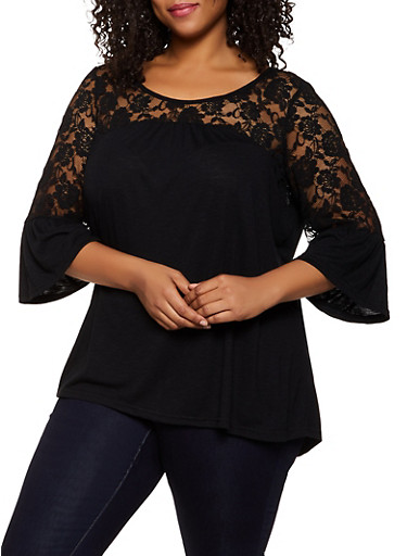 Plus Size Lace Detail Bell Sleeve Top,BLACK,large