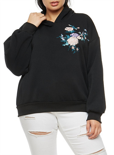 Plus Size Floral Embroidered Hoodie,BLACK,large