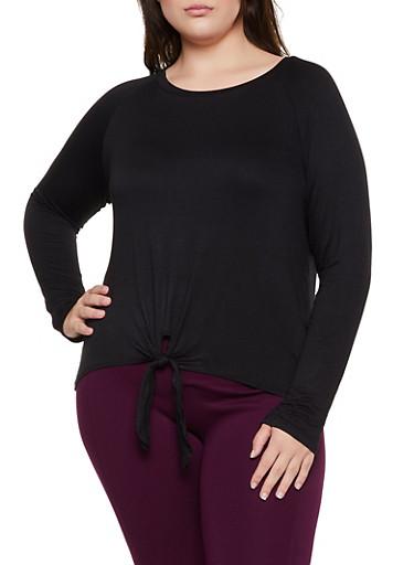 Plus Size Tie Front Long Sleeve Top,BLACK,large