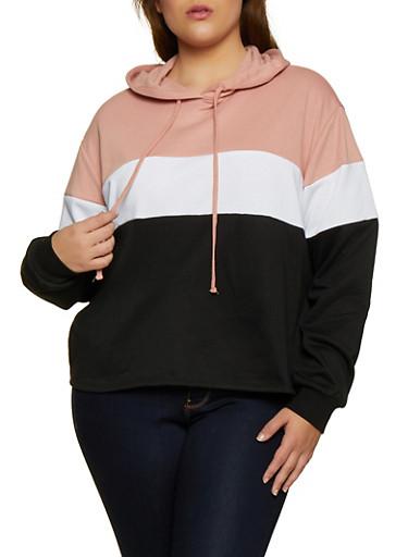Plus Size Pullover Color Block Sweatshirt,MAUVE,large