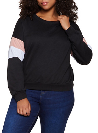 Plus Size Striped Detail Crew Neck Sweatshirt,BLACK,large
