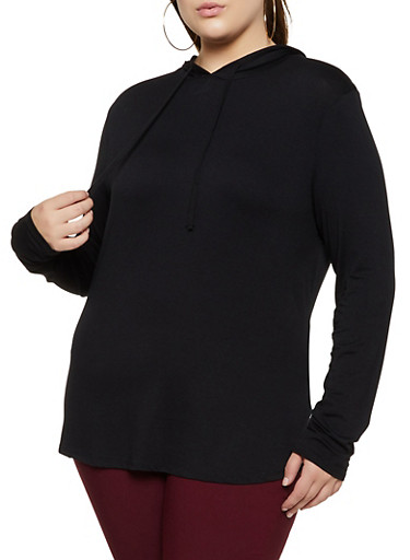 Plus Size Hooded Long Sleeve Top | 3912054261374,BLACK,large