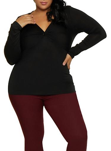 Plus Size Twist Front Long Sleeve Top,BLACK,large