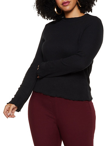 Plus Size Soft Rib Knit Top,BLACK,large