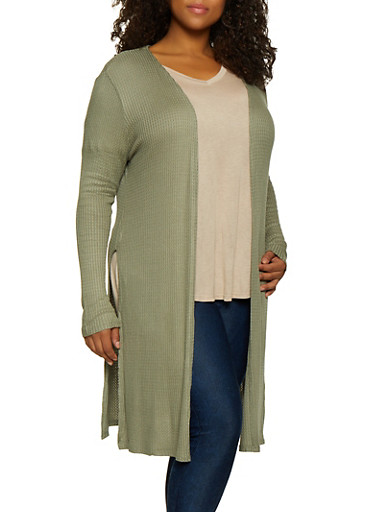 Plus Size Waffle Knit Duster,GREEN,large