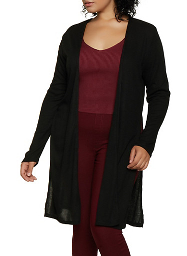 Plus Size Side Slit Rib Knit Duster,BLACK,large