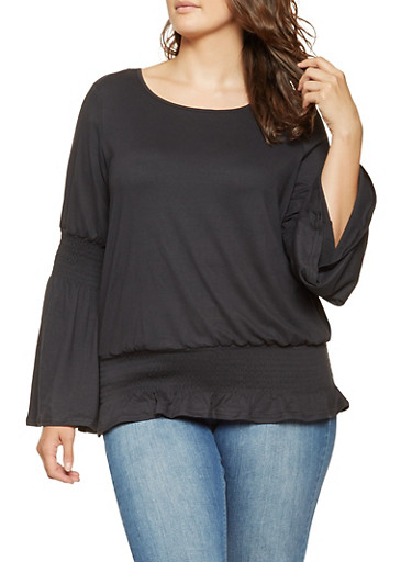Plus Size Smocked Bell Sleeve Top,BLACK,large