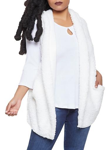 Plus Size Hooded Sherpa Vest,IVORY,large