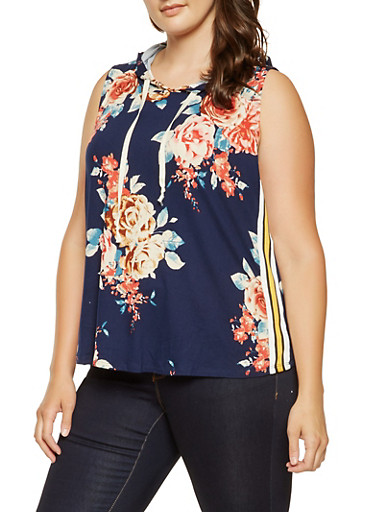 Plus Size Floral Hooded Tank Top,NAVY,large