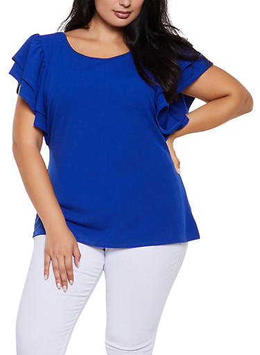 Plus Size Crepe Knit Tiered Sleeve Top,RYL BLUE,large