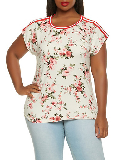 Plus Size Soft Knit Floral Tee,IVORY,large