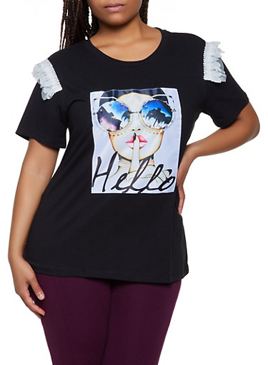 Plus Size Hello Studded Patch Tee,BLACK,large