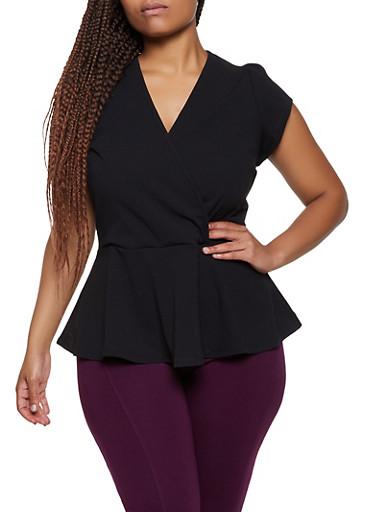 Plus Size Faux Wrap Peplum Top,BLACK,large
