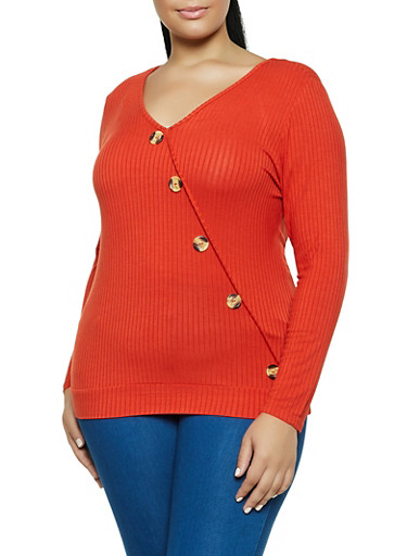 Plus Size Ribbed Button Detail V Neck Top,RUST,large