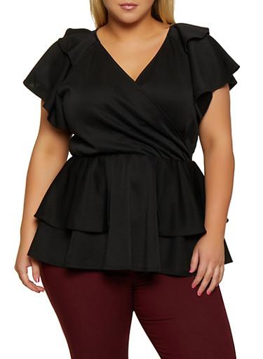 Plus Size Tiered Faux Wrap Peplum Top,BLACK,large