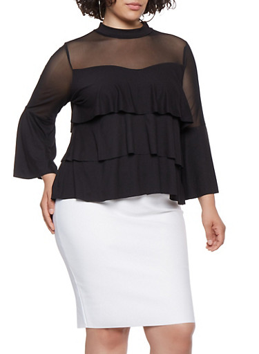 Plus Size Mesh Trim Tiered Ruffle Top,BLACK,large