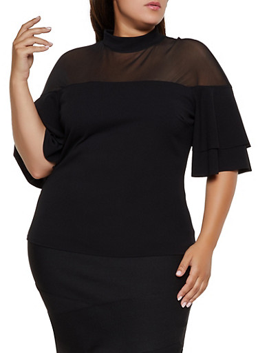 Plus Size Mesh Yoke Tiered Sleeve Top,BLACK,large